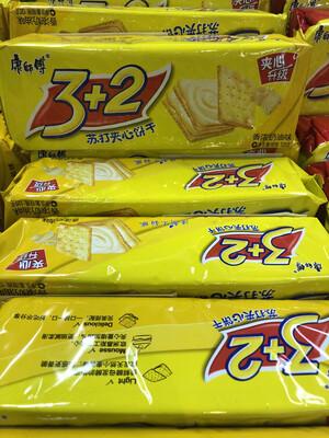 【RBG】康师傅3+2苏打夹心 香浓奶油味 3包入 375克