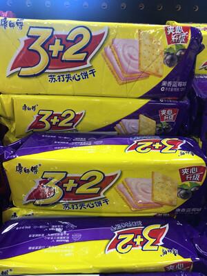 【RBG】康师傅3+2苏打夹心 果香蓝莓味 3包入 375克