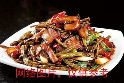 【滋味湖南】Sauteed Pork with Dried Long Bean干豆角炒腊肉/鸡胗