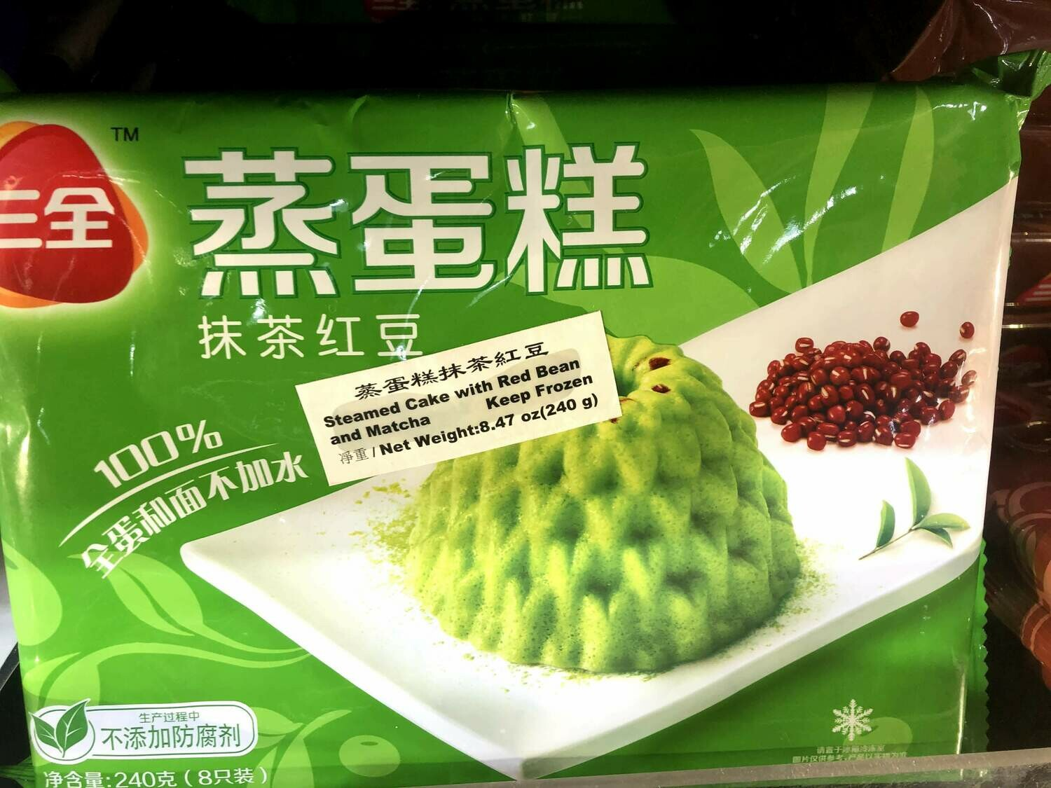【RBF】Steamed Cake with Red Bean and Matcha 三全 蒸蛋糕 抹茶红豆(240g)