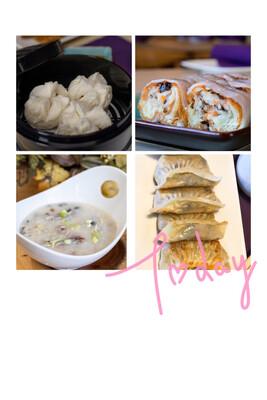 【一点心】Combo C : 64oz 家庭装皮蛋瘦肉粥,叉烧包,鲜虾炸两肠粉,港式斋煎饺 (Thursday & Friday)