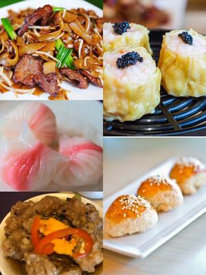 【一点心】Combo D: 虾烧卖,虾饺,排骨,叉烧酥,干炒牛河 (Thursday & Friday)