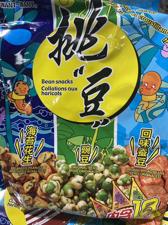 【RBG】旺旺 Bean Snacks 挑逗 综合包 (海苔花生 回味蚕豆 豌豆脆)内含18小包独立装