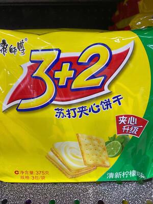 【RBG】康师傅3+2苏打夹心 清新柠檬味 375克 3包入
