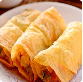 【金冠】Shrimp & Yellow Chives Wrapper w/Bean Curd Sheet(fried)(2)鲜虾腐皮卷(炸)(2)