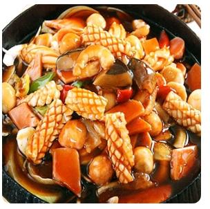 【金冠】Seafood w/Sate Sauce(spicy)铁板沙茶海鲜(辣)