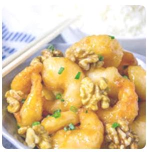 【金冠】Prawn w/Honey Poasted Walnet in Special Sauce沙律核桃虾球