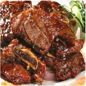 【金冠】Beef Short Ribs w/Black Pepper Sauce(spicy)铁板黑椒牛仔骨(辣)