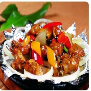【金冠】Chicken w/Black Bean Sauce铁板豆豉鸡球