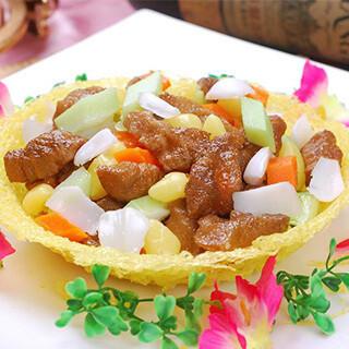 【华洋】Sauteed Sliced Chicken & Sliced Beef In A Bird Nest 雀巢鸡牛柳