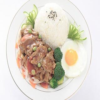 【华洋】Beef W. Vegetable On Rice 时菜牛肉饭