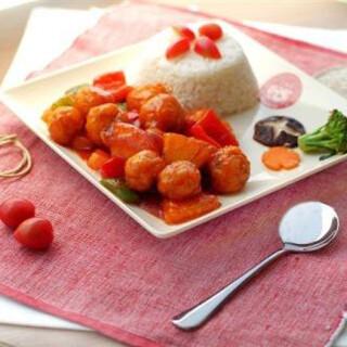 【华洋】Chicken W. Vegetable On Rice 时菜鸡球饭