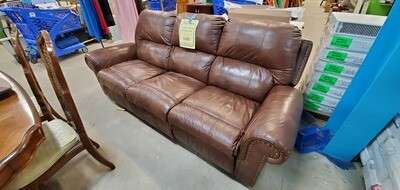 Brown Leather Double Recliner Sofa