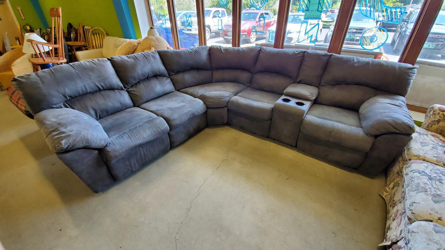 Gray Sectional with two recliners
