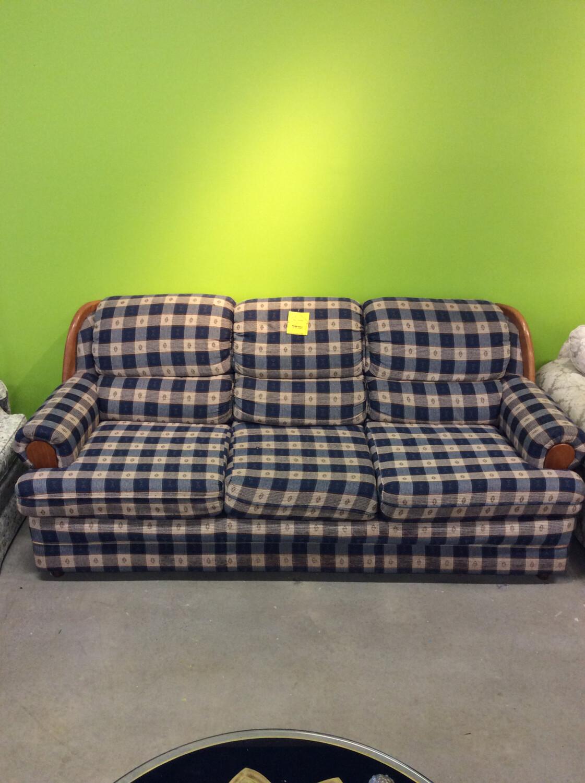 Blue Checkered Sofa