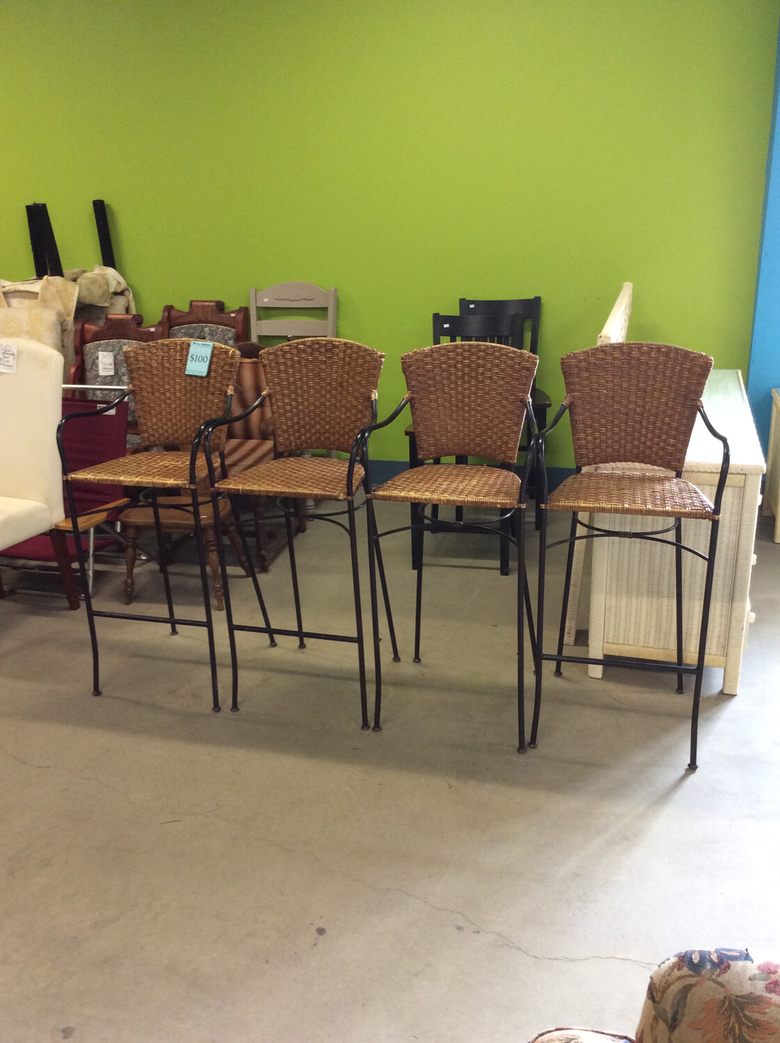 Set of 4 Wicker Bar Chairs