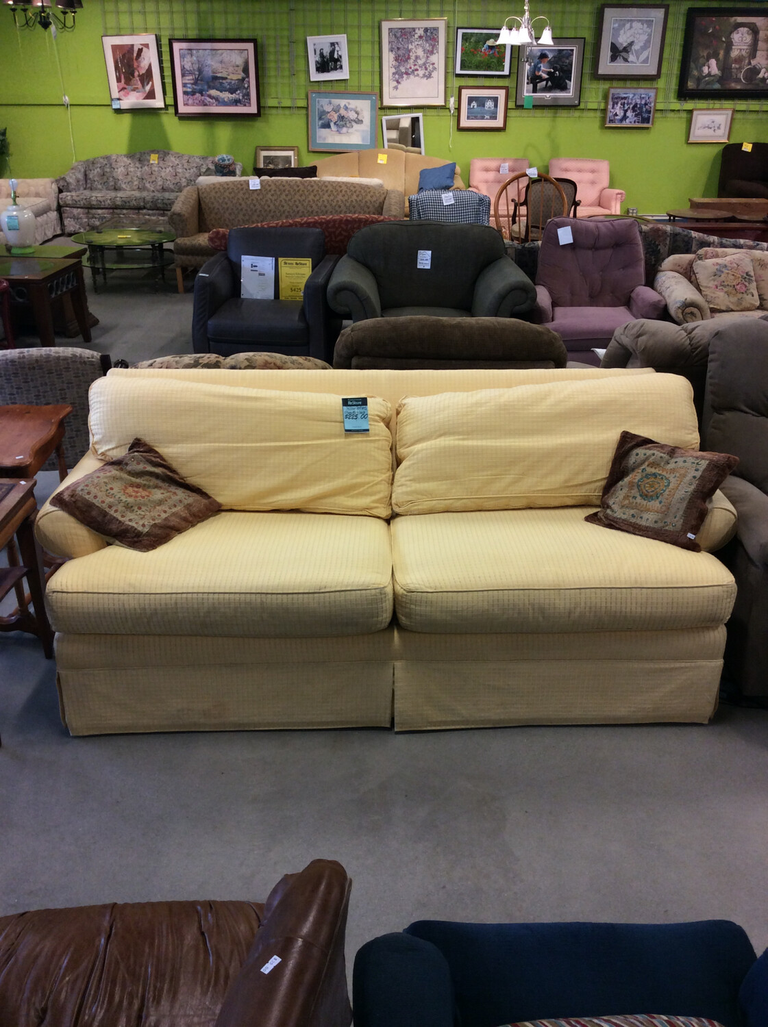 Yellow Textured Ethan Allen Couch