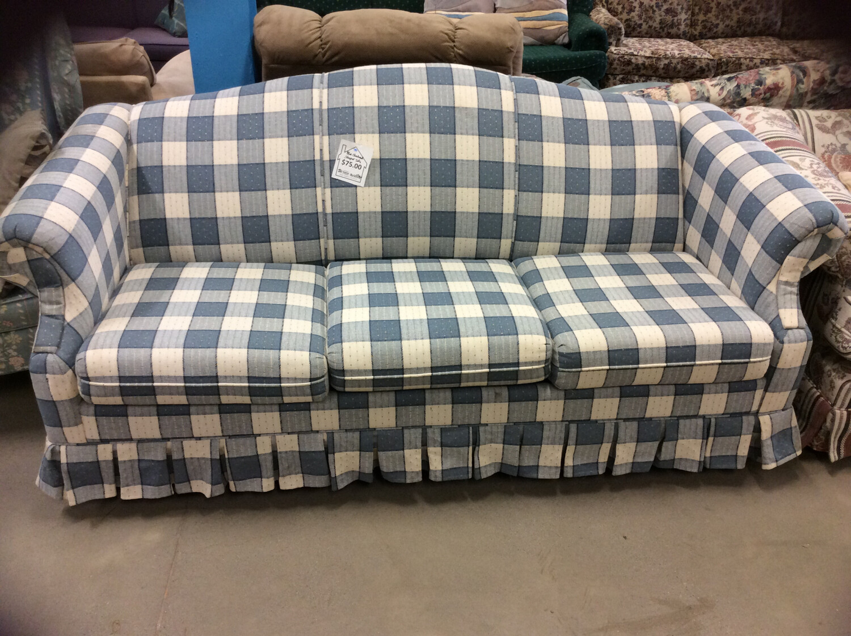 Blue Checkered Sleeper Sofa