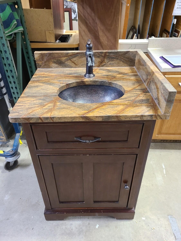 Stone-Top Vanity w/ Copper Sink