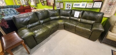 Dark Green Leather Sectional