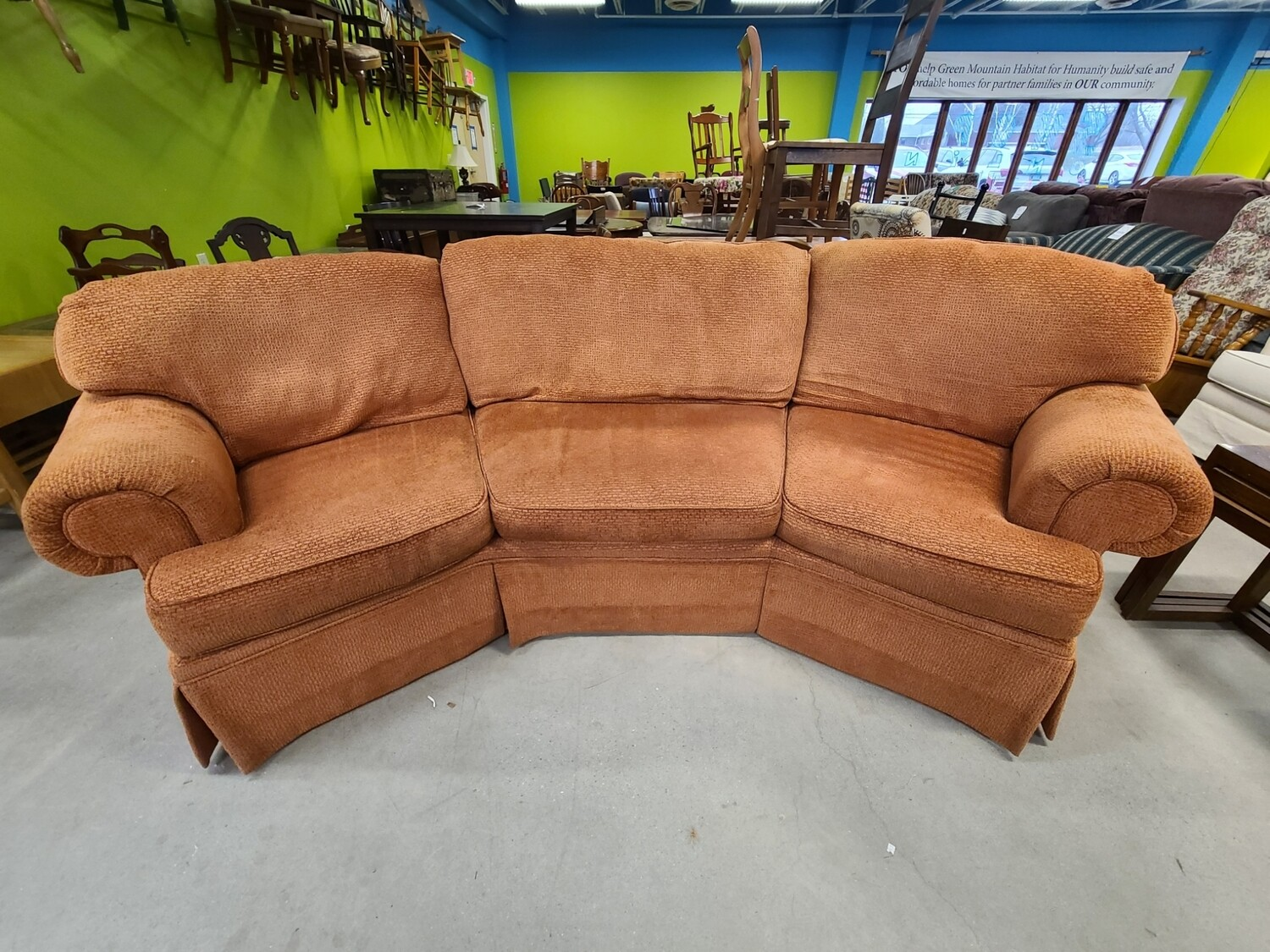 Harden Orange Curved Sofa