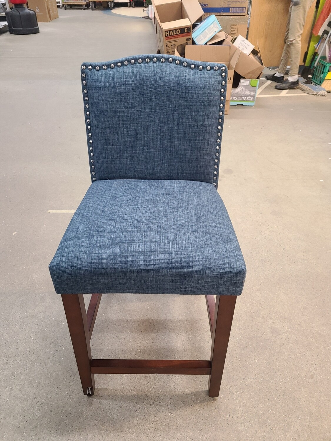Camelot Nailhead Trim Counter Height Barstool (Navy)