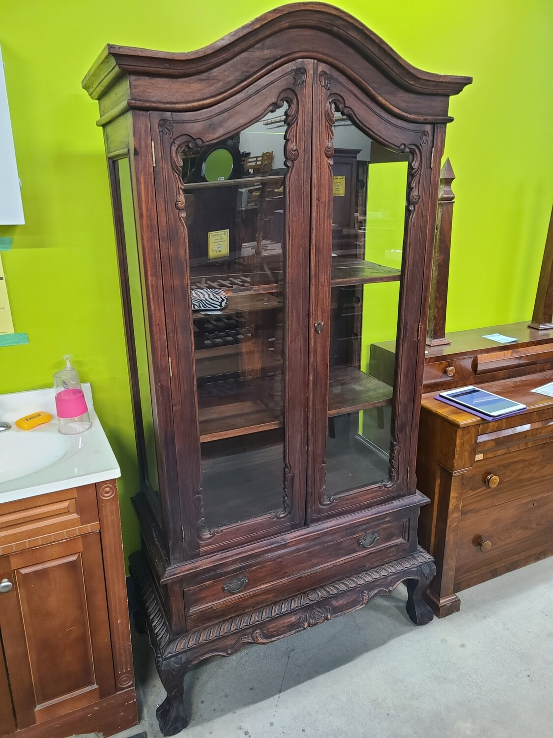 1940s Clawfoot Display Cabinet