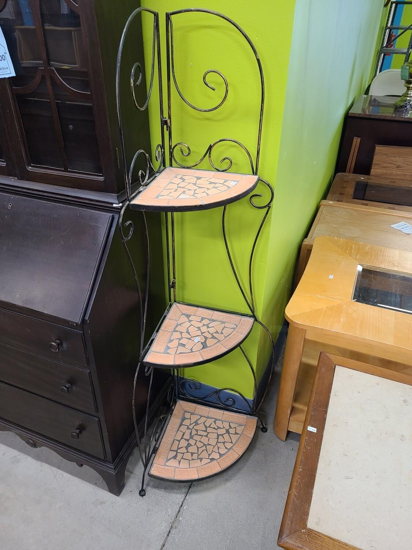 Metal and Ceramic Corner Shelf