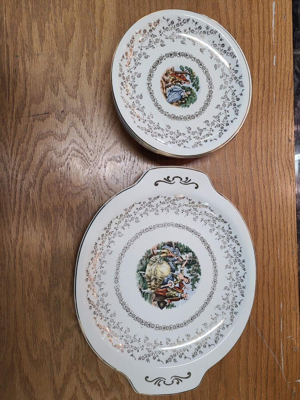 Harker Pottery Platter & 6 Plates