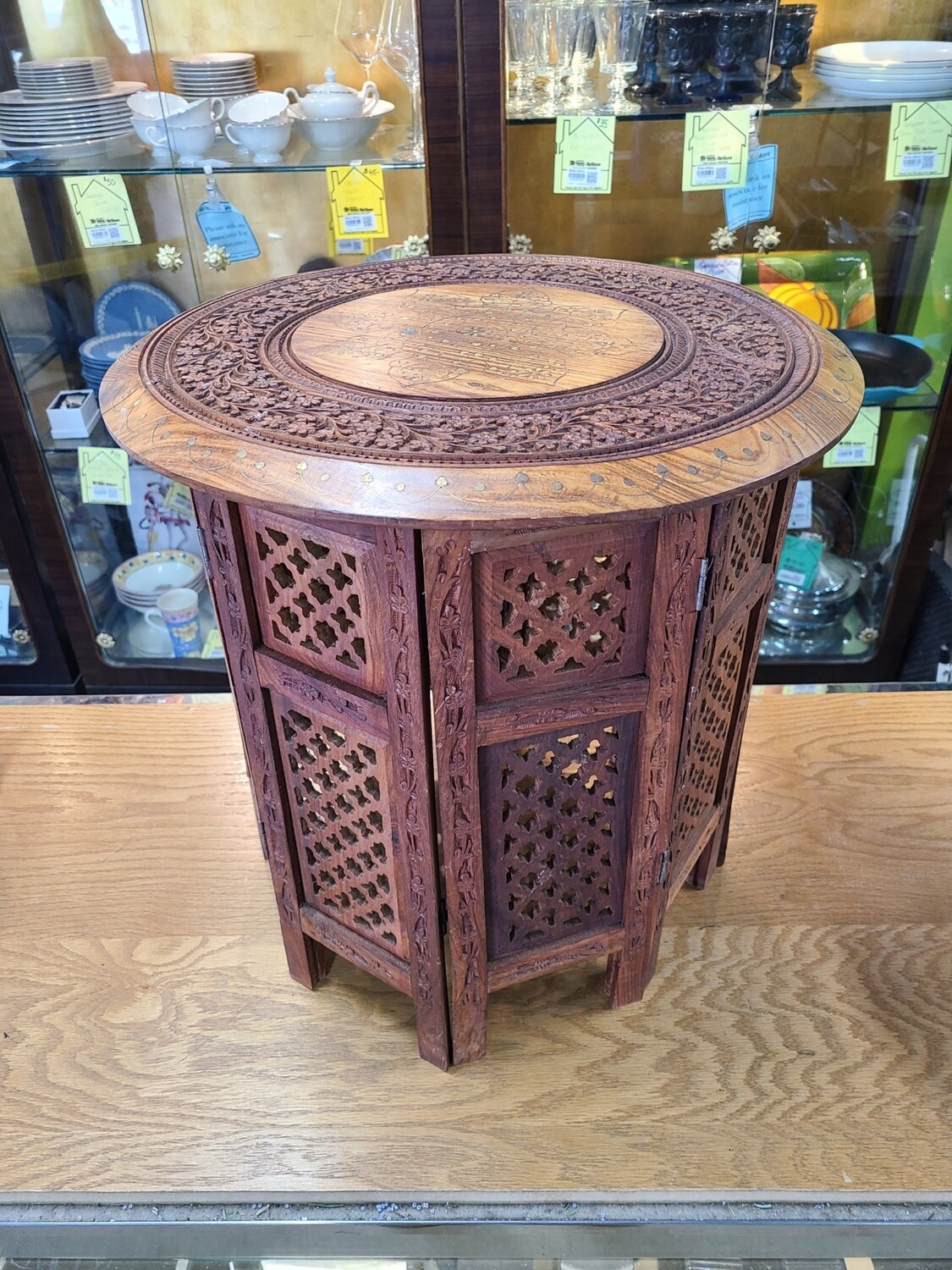 Indian Hand-Carved Octagonal End Table