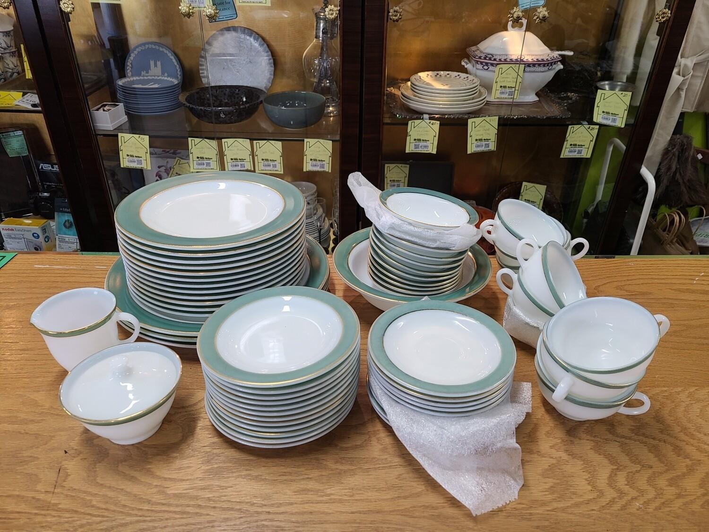 Pyrex Jade Green Banded Dinnerware Set (59)