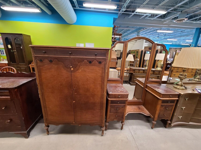 NYPENN Antique Wardrobe & Vanity Set