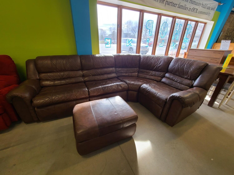 La-Z-Boy Brown Leather Sleeper Sectional