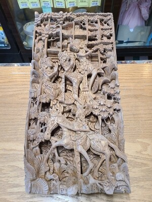 Hand-Carved Southeast Asian Panel