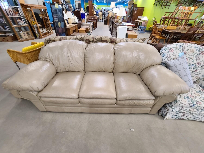 Tan Leather Sofa and Ottoman