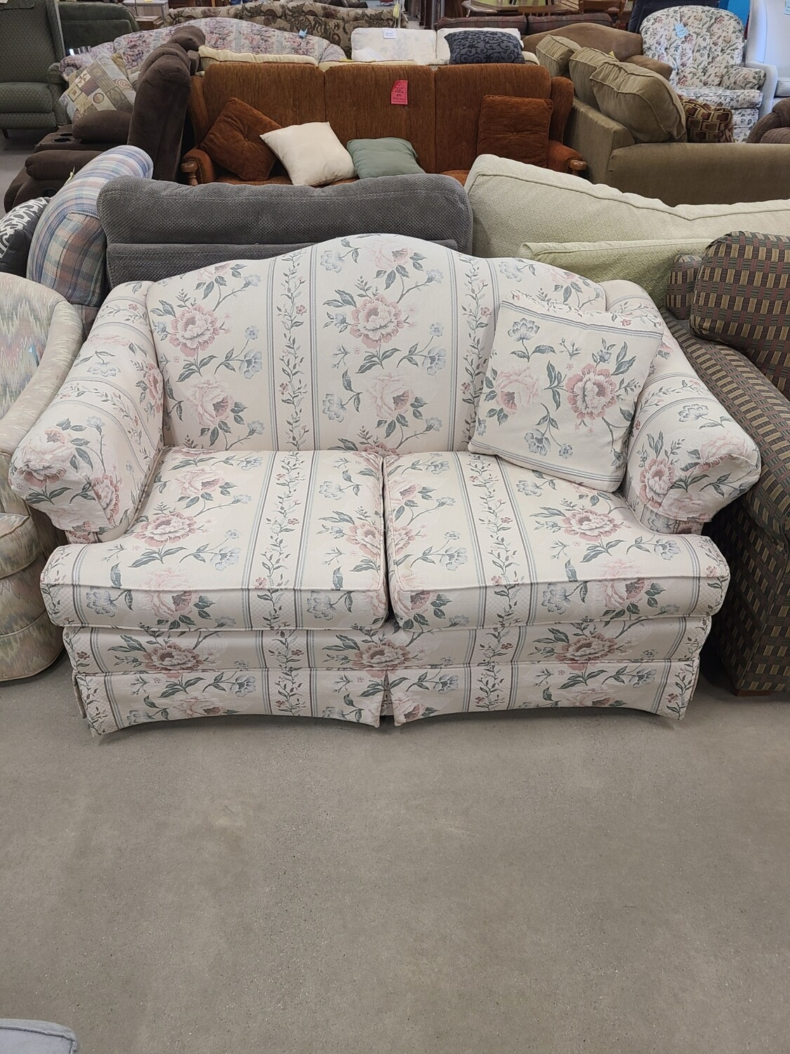White Floral Loveseat