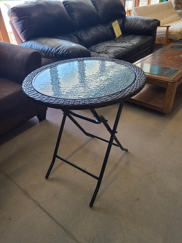 Folding Glass-top Wicker Table