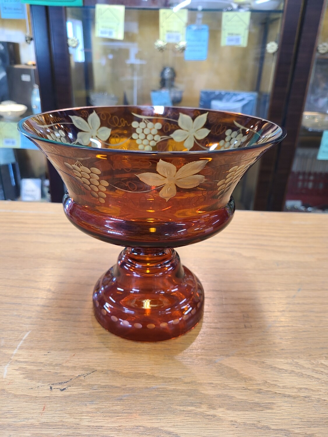 Dark Amber Cut to Clear Fruit Bowl