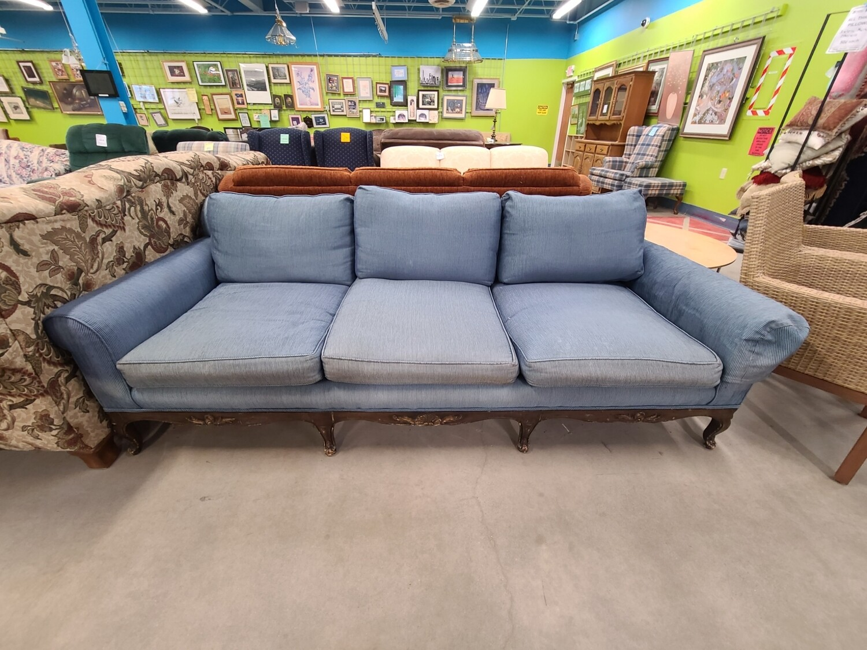 Blue Down-Filled Sofa