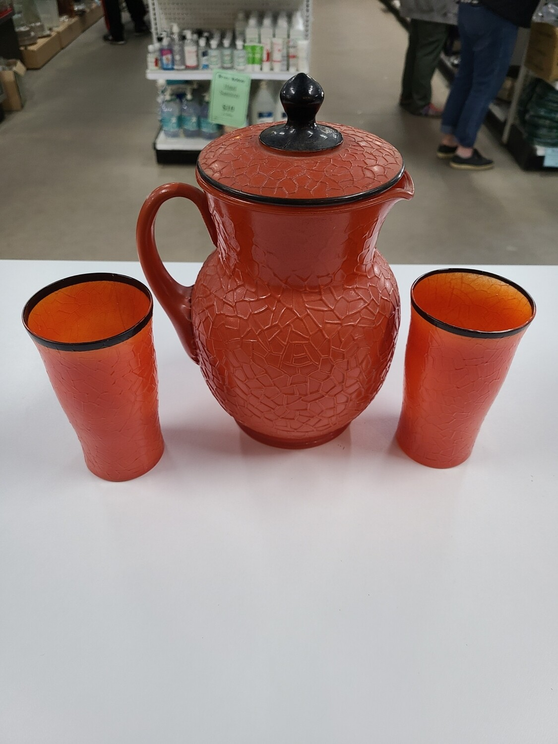 Orange Pitcher and Cups (2)