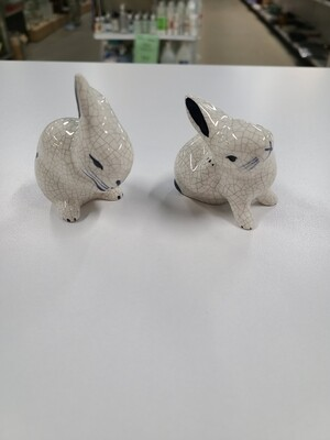 Pair of Hand-Painted Porcelain Bunnies
