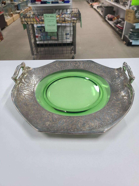 Sterling Silver Glass Platter