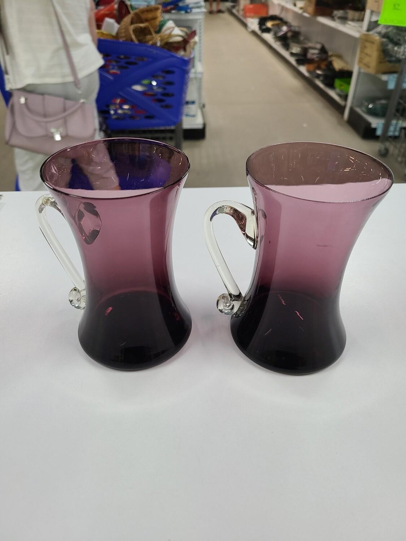 Handmade Purple Glass Mugs