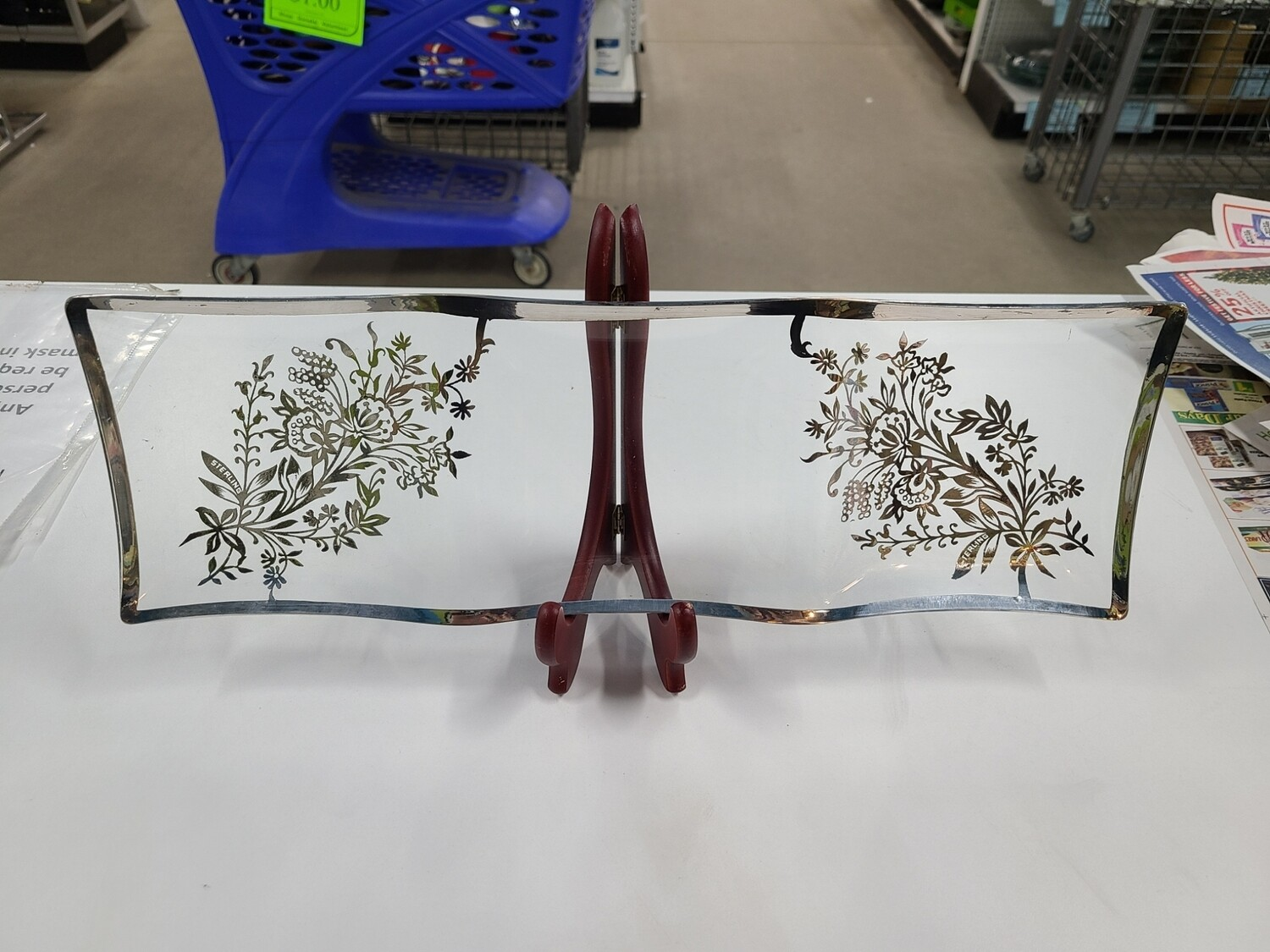 Pair of Sterling Silver Electroplated Glass Dishes