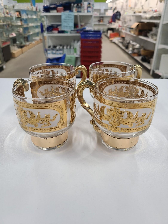 Midcentury Gold Handled Mugs (4)