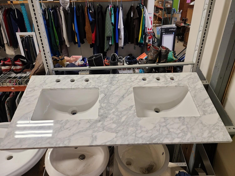 """Aberdeen 48"""" Marble Double Sink Vanity Top"""