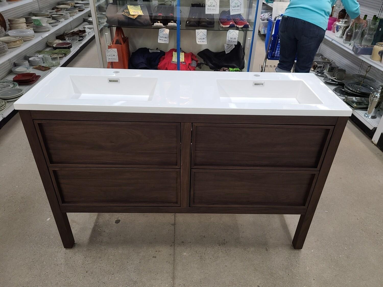 """Annecy 55"""" Dark Walnut Double Sink Vanity"""