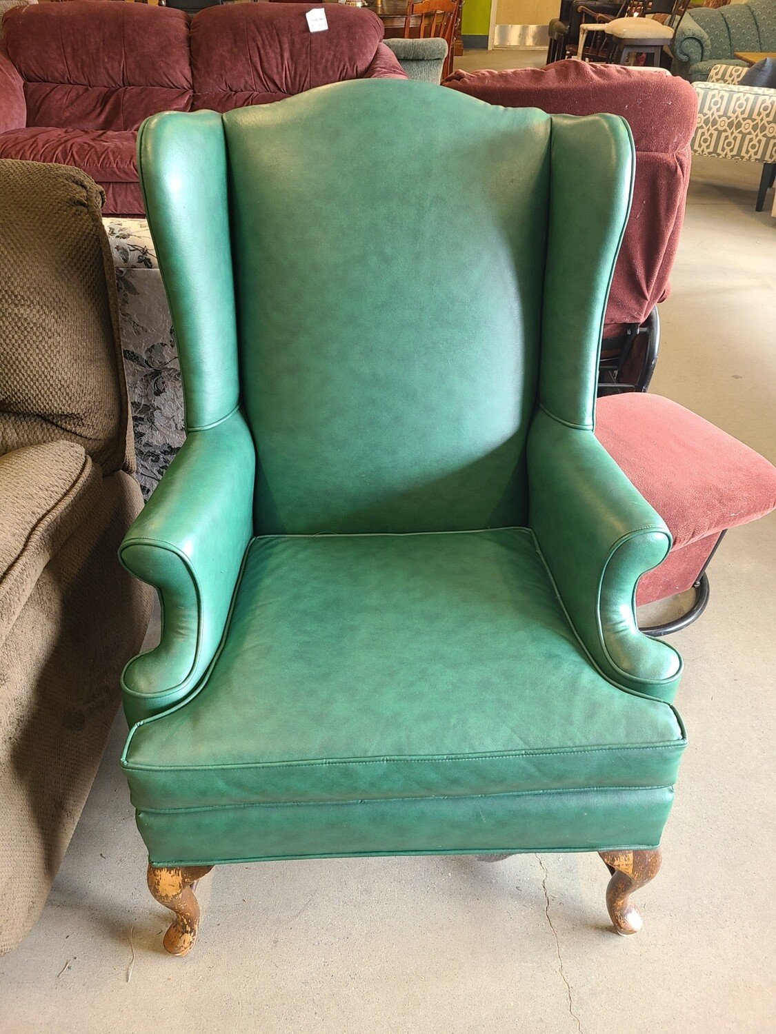 Green Leather Wingback