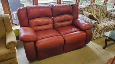 Red Leather Recliner Loveseat