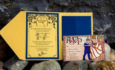 Beauty and the Beast Theme Disney Enchanted Rose Wedding Invitations